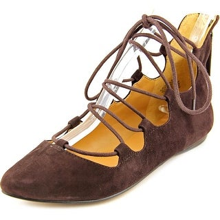 Nine West Sign Me Up Women Pointed Toe Suede Brown Flats