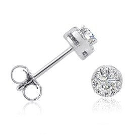 Amanda Rose AGS Certified 1/4 ct TW Halo Diamond Stud Earrings in 10K White Gold