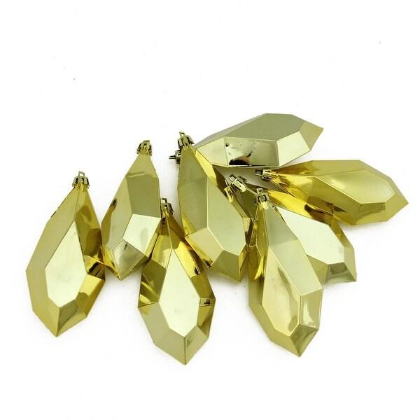 "8ct Shiny Gold Glamour Diamond Cut Shatterproof Christmas Drop Ornaments 4.75"" (120mm)"