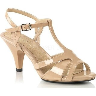 Fabulicious Women's Belle 322 T-Strap Sandal Nude Patent/Nude
