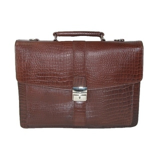 CTM® Leather Briefcase with Croc Finish