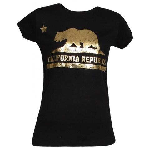 Womens Black Short-Sleeve Gold California Republic T-Shirt