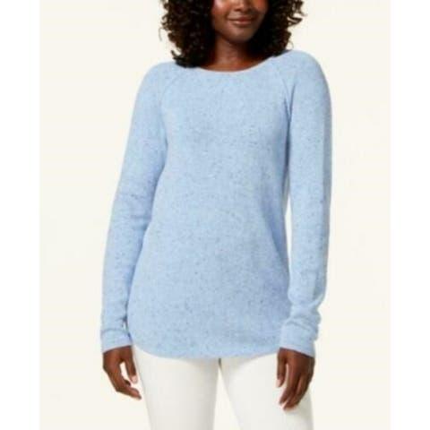 Karen Scott Women's Curved-Hem Sweater Blue Size Small