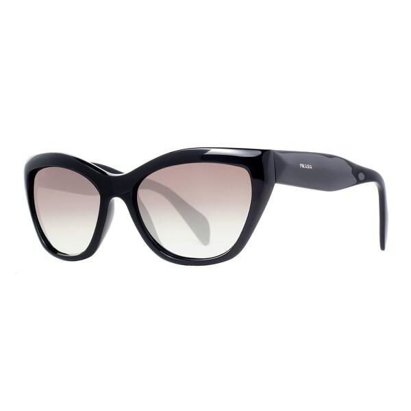 Prada SPR 02Q 1AB-0A7 Shiny Black/Gray Gradient Women's Cat Eye Sunglasses - Shiny Black - 56mm-17mm-140mm