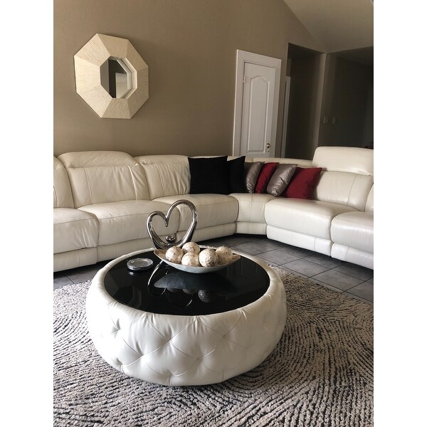 Ordinaire Shop Abbyson Havana Round Leather Coffee Table   On Sale   Free Shipping  Today   Overstock.com   8231828