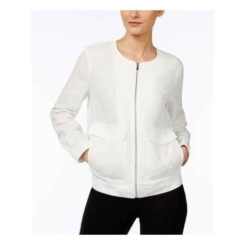 ANNE KLEIN Womens Ivory Zip Up Jacket Size: M