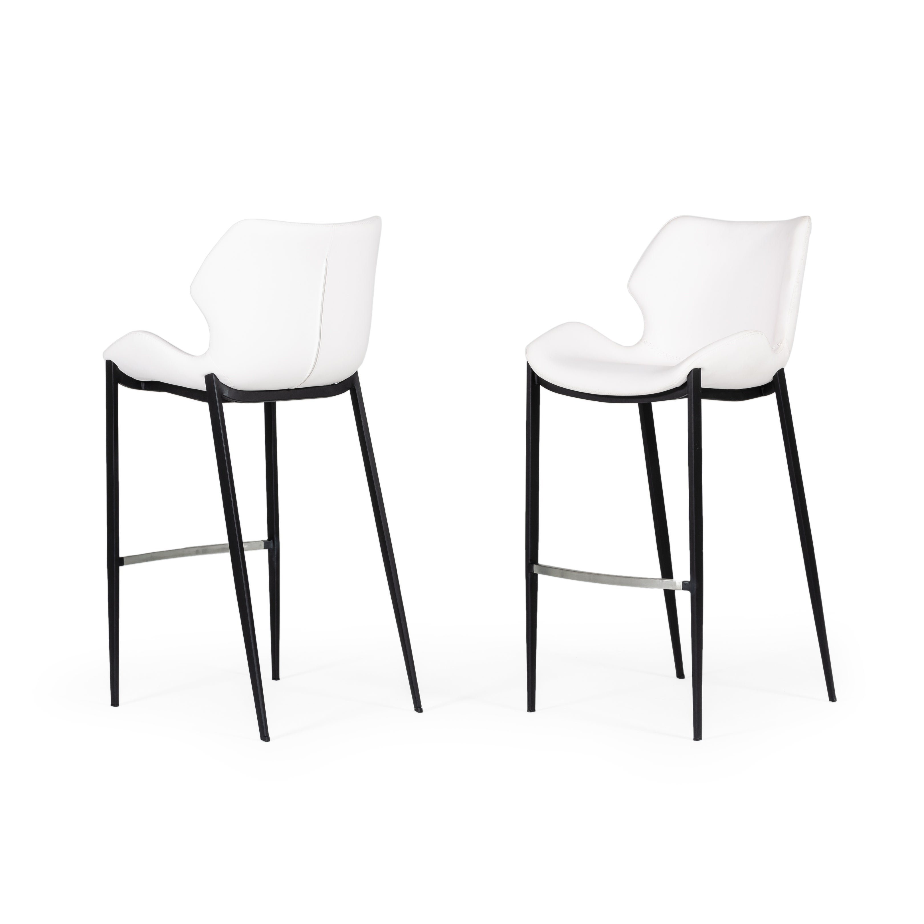 Image of: Shop Black Friday Deals On Modrest Ithaca Modern White Leatherette Bar Stool Set Of 2 Overstock 31638479