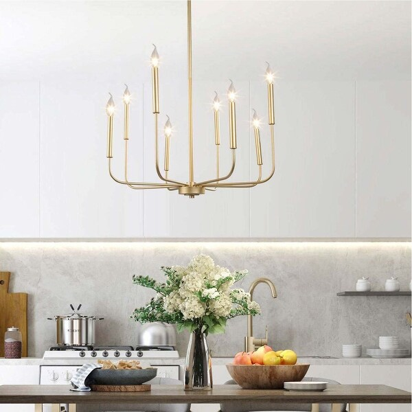 Mid-century Modern Gold 8-Light French Country Candle Chandelier. Opens flyout.