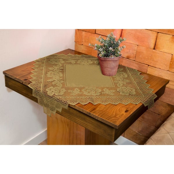 Table Topper Grega Design Brazilian Lace 29x29 Inches Ocher (Light Brown) Color 100 Percent Polyester