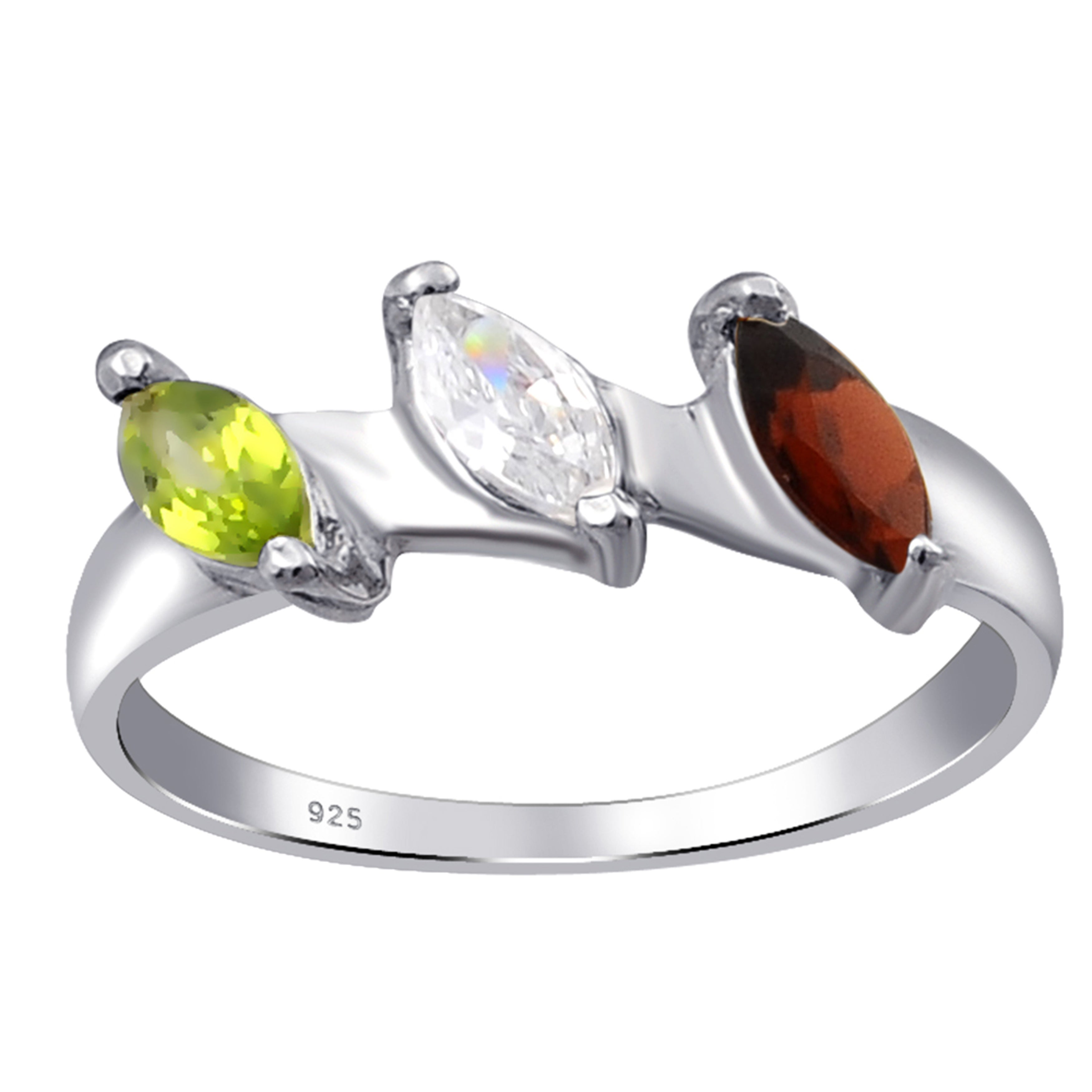 Natural Peridot with Cubic Zirconia Stones Ring 925 Sterling Silver
