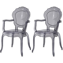 2xhome - Set of Two (2) - Smoke - Modern Belle Ghost Chair Armchair With Arm Polycarbonate Plastic Smoke Tint