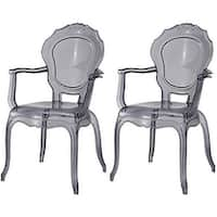 2xhome - Set of Two (2) - Smoke - Modern Belle Transparent Chair Armchair With Arm Polycarbonate Plastic Smoke Tint - N/A
