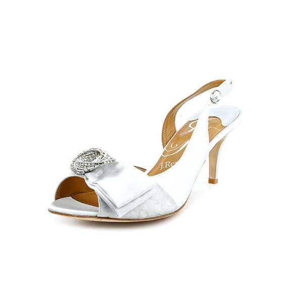 J. Renee Natassia Women Open-Toe Canvas Silver Slingback Heel
