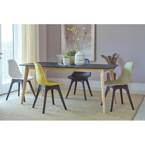 Selena Matte Black And Natural Rectangle Top Dining Table Overstock 31276456