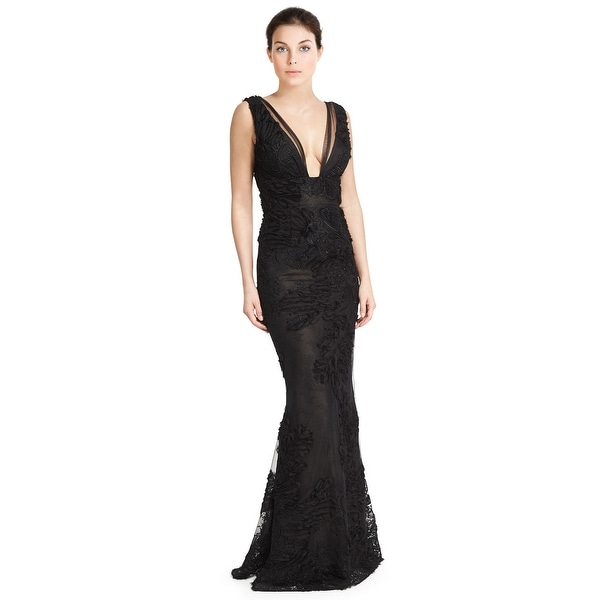 Shop Marchesa Notte Embroidered Tulle V-Neck Sleeveless Evening Gown ...