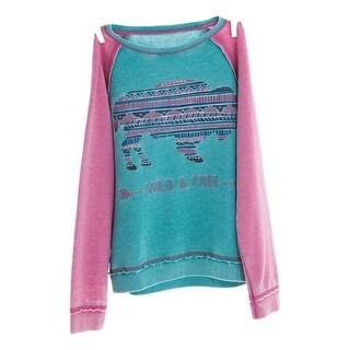 Cowgirl Tuff Western Sweatshirt Girls Burnout Buffalo Turquoise H00473