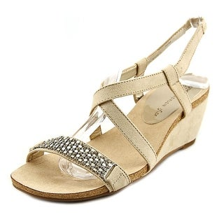 Anne Klein Jasia Women Open Toe Canvas Nude Wedge Sandal
