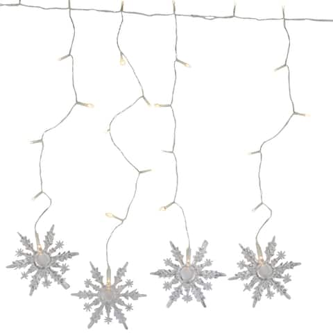30 Battery Operated Snowflake Christmas Lights - 3 ft Clear Wire
