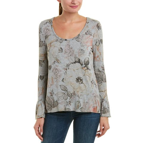 Chaser Floral Peplum Sleeve Top - HEATHER GREY