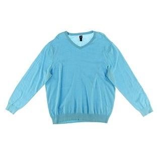 John Ashford Mens Cotton Ribbed Trim V-Neck Sweater - L