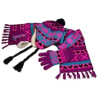 NICE CAPS Big Girls Sherpa Lined Snowflake Print Knitted 3PC Set 8-12yrs - purple/neon pink/turq/black
