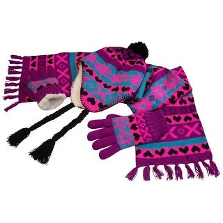 NICE CAPS Big Girls Sherpa Lined Snowflake Print Knitted 3PC Set 8-12yrs - purple/neon pink/turq/black - 8-12 years