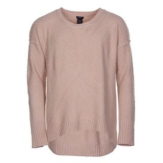 Calvin Klein Jeans Womens Crewneck High-Low Hem Sweater Misty Rose X-Large - XL