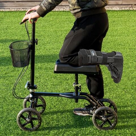Costway Steerable Foldable Knee Walker Scooter Turning Brake Basket Drive Cart Aid