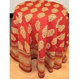 Handmade Kensington Block Print Tablecloth 100-percent Cotton Rust Brown Rectangular Square Round