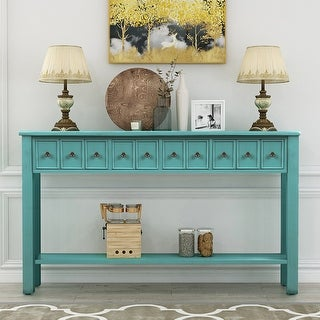 "Blue 4-drawer 60"" Long Sofa Table Entryway Console Tables"