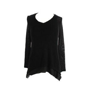 Bar Iii Black Long-Sleeve Chiffon-Hem V-Neck Sweater S