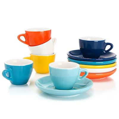 Sweese Porcelain Espresso Cups with Saucers, 2 Ounce, Hot Assorted Color
