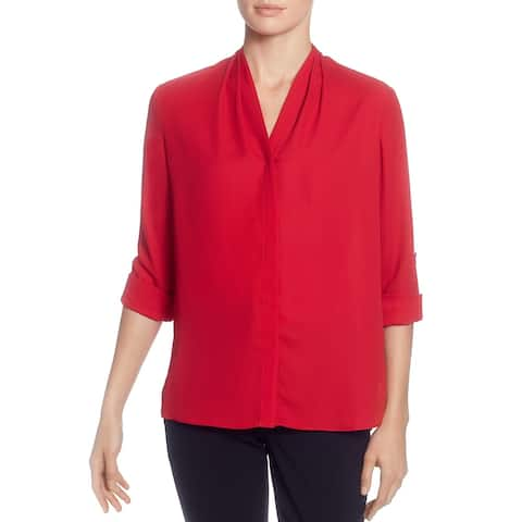 T Tahari Womens Blouse Button-Down V-Neck