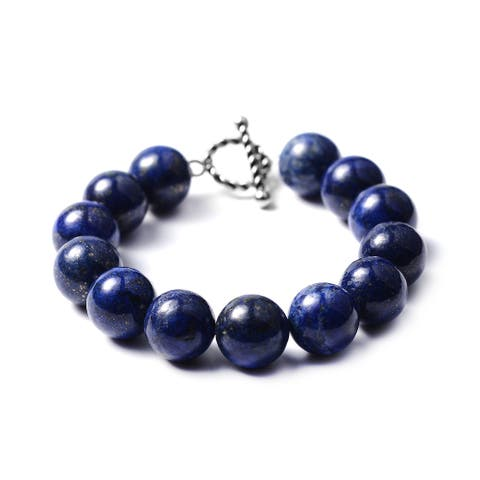 Shop LC Stainless Steel Lapis Lazuli Beads Bracelet Size 8 In Ct 327 - Bracelet 8''