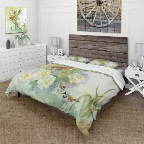Designart 'Flowers and Birds In Rustic Scenery' Traditional Duvet Cover Set