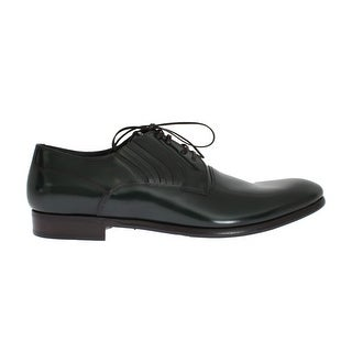Dolce & Gabbana Green Leather Laceup Formal Shoes - eu44-us11
