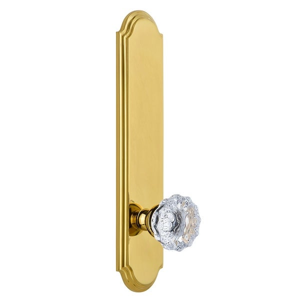 Grandeur ARCFON_TP_PRV_234_RH Arc Solid Brass Tall Plate Rose Right Handed Privacy Door Knob Set with Fontainebleau Crystal