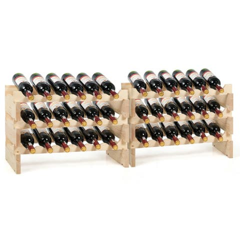 Gymax 36 Bottle Modular Wine Rack 6 Tier Stackable Wooden Display Shelves Wobble-Free
