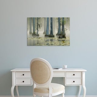 Easy Art Prints Corey Hilz's 'Bald Cypress Swamp In Fog With Lily Pads' Premium Canvas Art