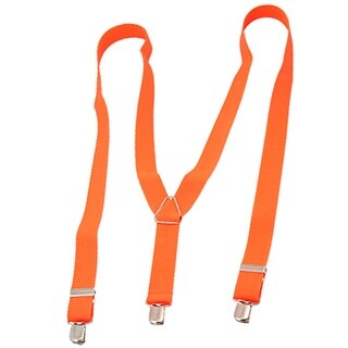 Unique Bargains Metal Clip Style Orange Red Suspender Braces Adjustable