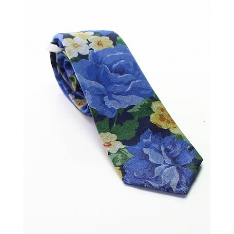 BAR III Blue Faded Floral Printed Men's Skinny Knit Woven Necktie
