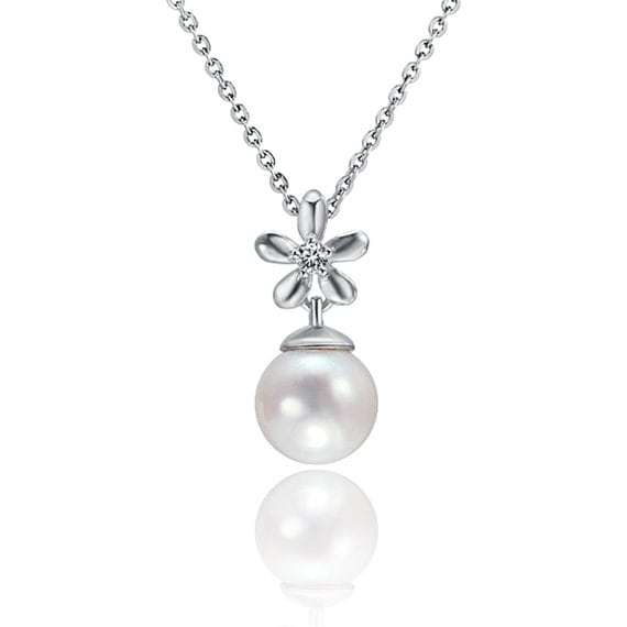 """Flower Pearl Necklace Sterling Silver Pendant 18"""" Chain"""