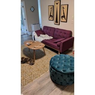 Zelfa Round Tufted Velvet Ottoman by Christopher Knight Home
