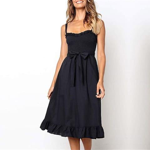 Fashion Ruffled Lace-Up Strapless Halter Female Dress