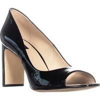 DKNY Jade Peep Toe Heels, Black Patent