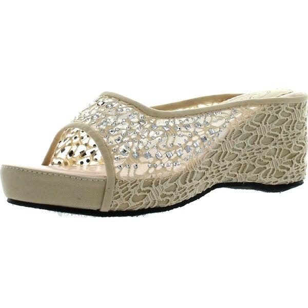 Bolaro Womens Dw4999 Crochet Lace Sparkle Open-Toe Flatform Wedge Sandal - Nude
