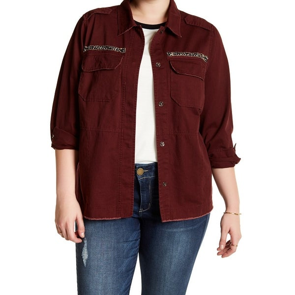 41592d01d82 Shop Jolt Red Women s Size 3X Plus Button Down Fray Denim Embellish Top - Free  Shipping On Orders Over  45 - Overstock - 22438048