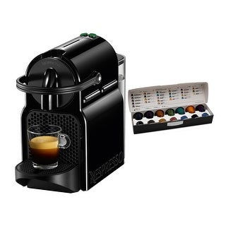 Nespresso Inissia Espresso Maker (Black) & Coffee Capsules Pods Bundle
