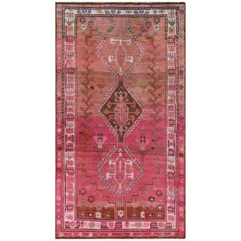 """Shahbanu Rugs Bohemian Pink Persian Qashqai Old Sheared Low Clean Pure Wool Hand Knotted Oriental Gallery Size Rug (4'0"""" x 7'4"""")"""