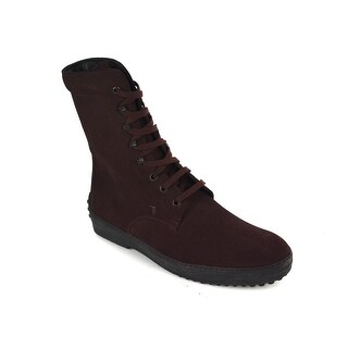 Tod's Men's Burgundy Suede High Top Lace Up Boots